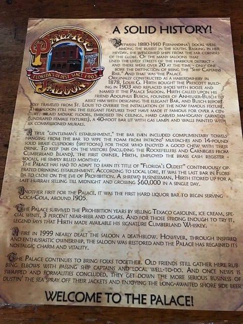 Palace Saloon Fernandina Beach Florida menu and history info sheet