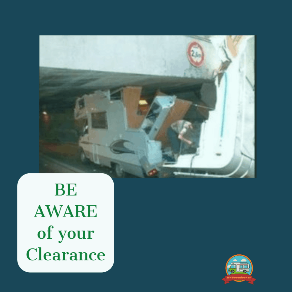 RV newbie mistakes crashing into bridge, text says be aware of your clearance