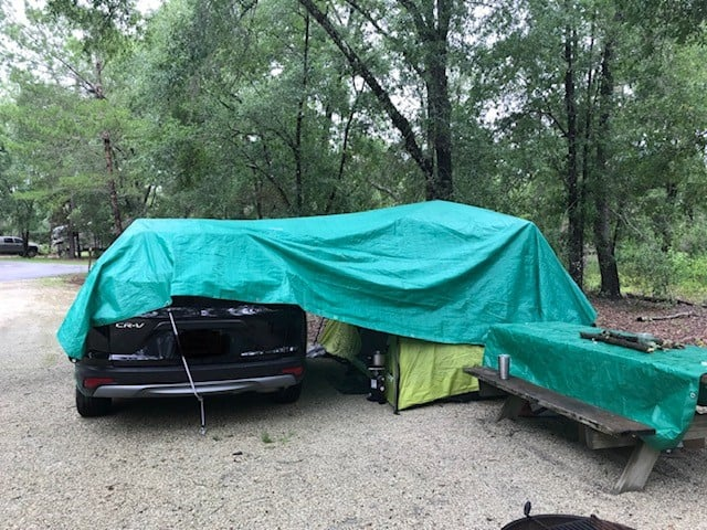 Made a covered porch out of a tarp at silver springs campground florida