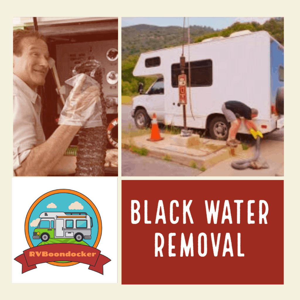 Black water tank removing waste