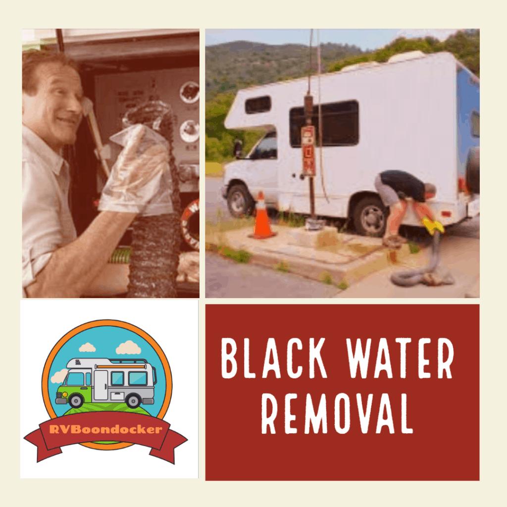 Black water tank removing waste