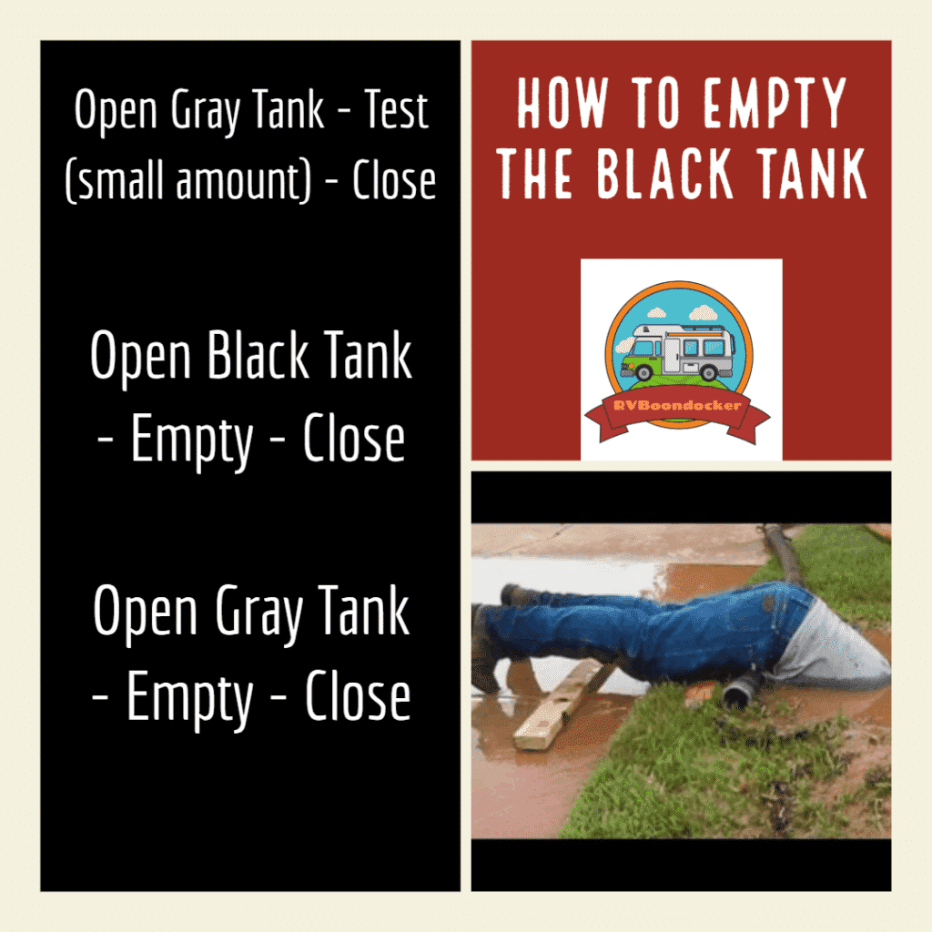 How to empty your black tanks. Order of operations for emptying. gray tank test first, then black tank, then gray tank.