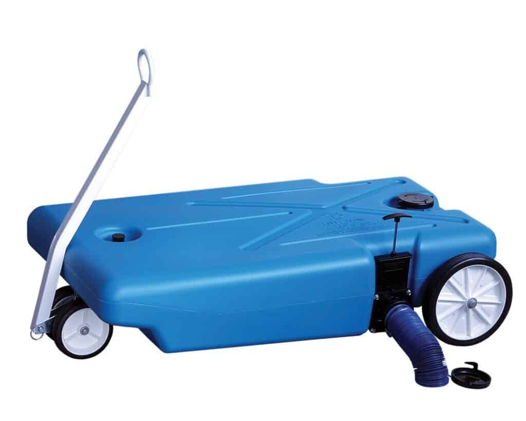 Blue tote for dumping the black tank system in an RV