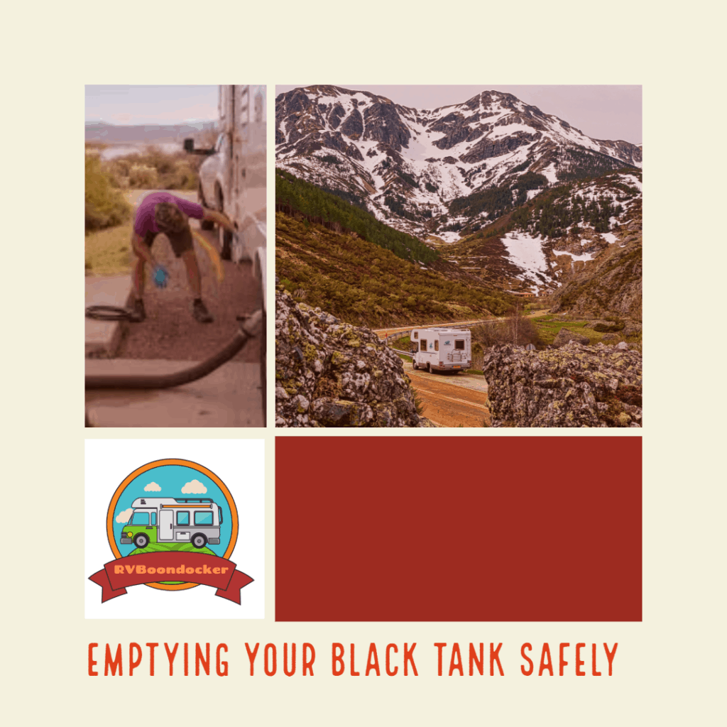 RV black tank emptying safely