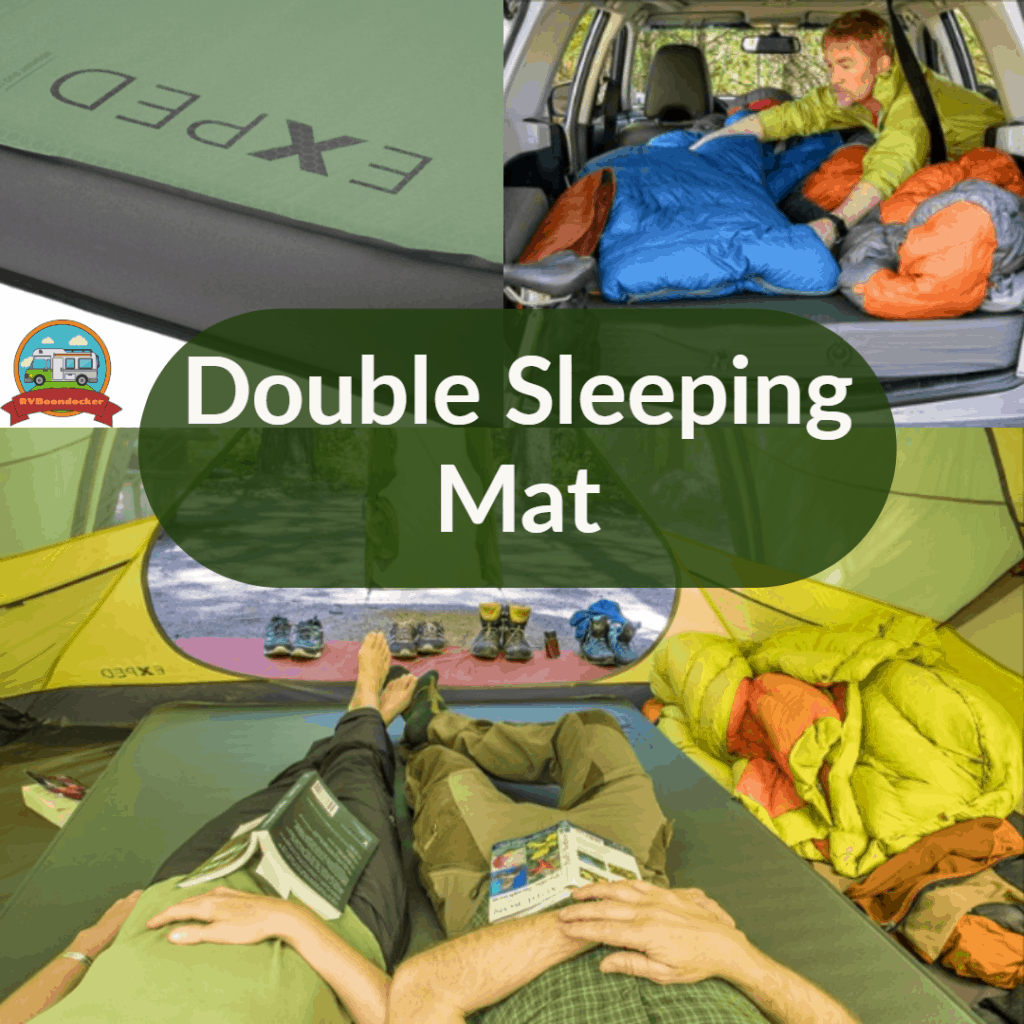 double sleeping mat pictured inside a car and a tent