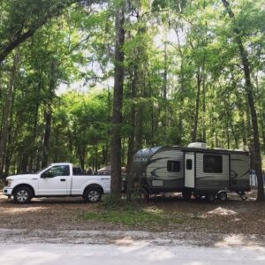 truck and rv travel trailer camping in florida
