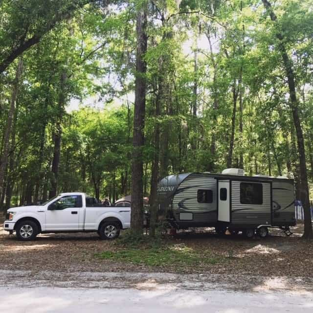 our RV set up, a ford f 150 and 26 foot travel trailer camping in florida