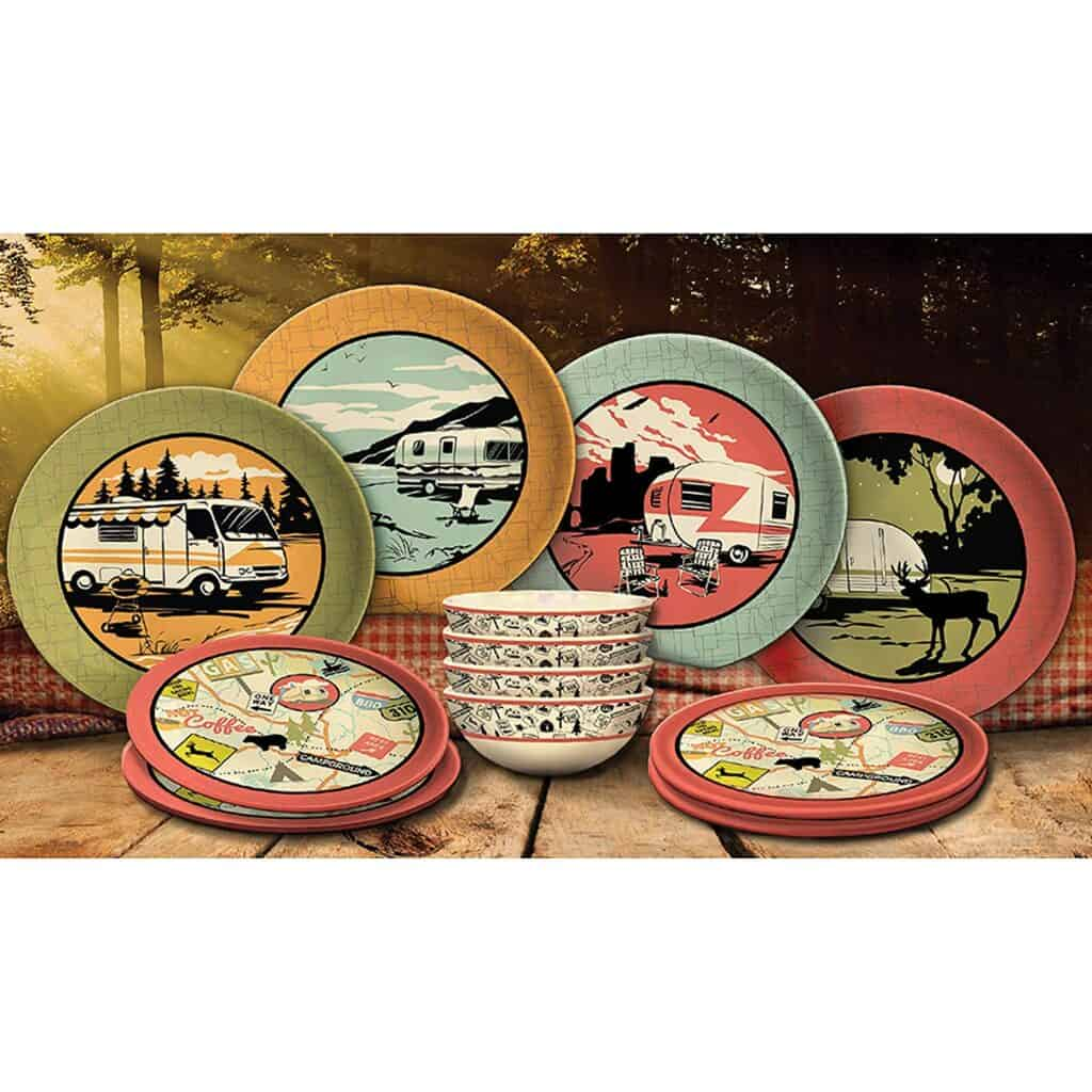 dish set with rv campers