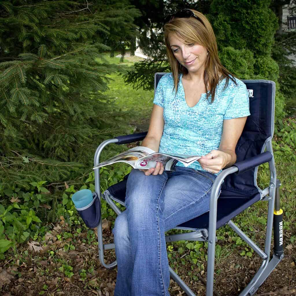 rv camping foldable rocking chair great for relaxing and reading at your favorite campsite