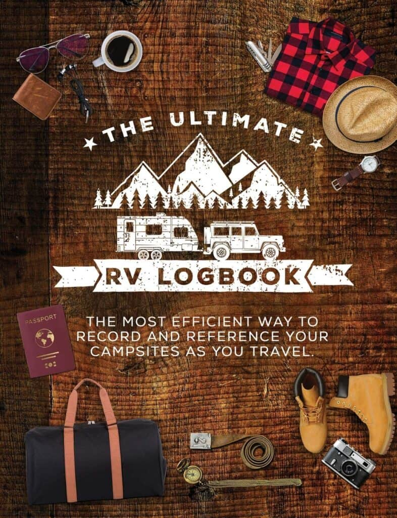 RV log book for recording travel information while camping