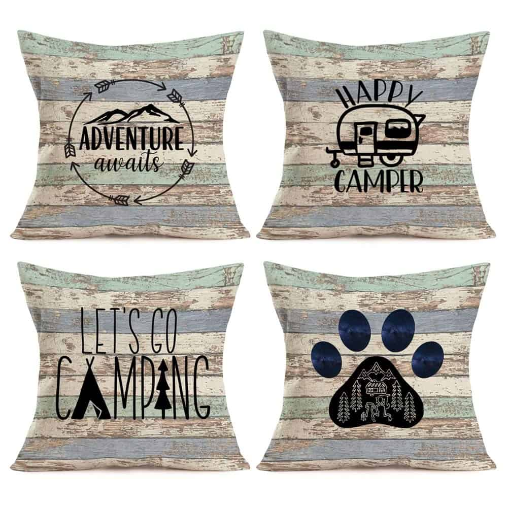 RV Travel Camper Design throw pillows a set of 4