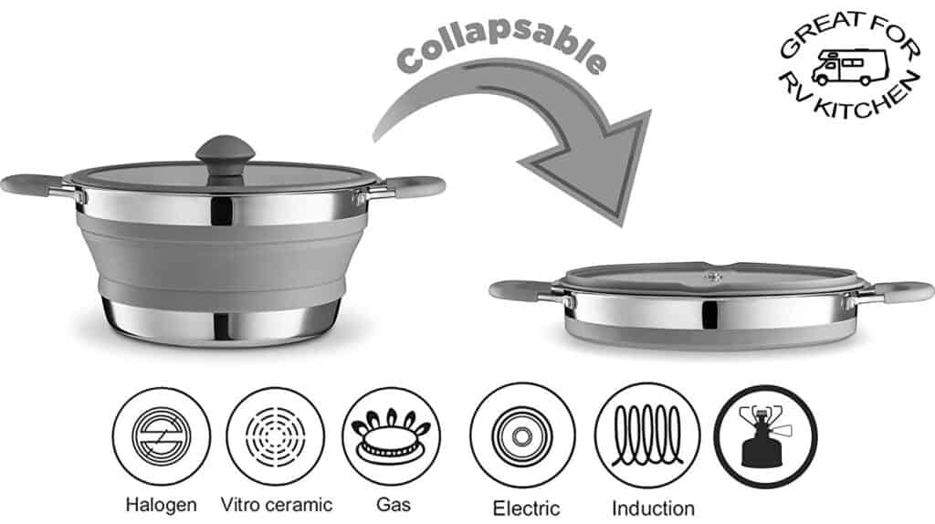 Collapsible stainless steel pot made for an RV kitchen for gas or electric stove. Made Bpa free and non toxic materials.