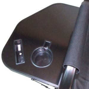 drink holder and phone holder in camping directors chair