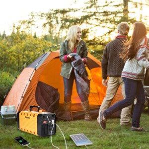 camping with a small battery with a solar charger