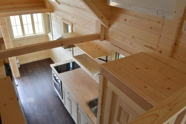 upstairs looking down into the kitchen