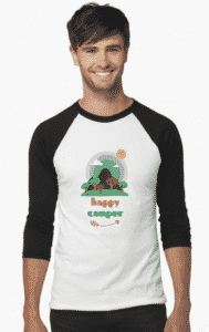 happy camper design baseball shirt