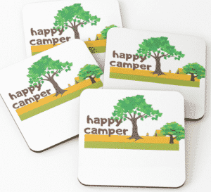 happy camper coasters