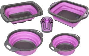 purple collapsible set strainer, bowl, and sink